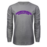 Grey Long Sleeve T Shirt-Young Harris Mountain Lions Arched