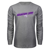 Grey Long Sleeve T Shirt-Mountain Lions Slanted