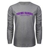 Grey Long Sleeve T Shirt-Young Harris College Arched