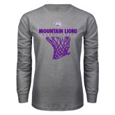 Grey Long Sleeve T Shirt-Mountain Lions Basketball w/ Hanging Net