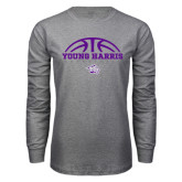 Grey Long Sleeve T Shirt-Young Harris Basketball Half Ball