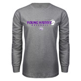 Grey Long Sleeve T Shirt-Young Harris Baseball w/ Flying Ball