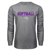 Grey Long Sleeve T Shirt-Young Harris College Softball