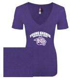 Next Level Ladies Vintage Purple Rush Tri Blend V Neck Tee-Official Logo