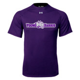 Under Armour Purple Tech Tee-Young Harris Flat w/ Spirit Mark