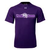 Under Armour Purple Tech Tee-Young Harris Flat w/ Spirit Mark