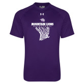 Under Armour Purple Tech Tee-Mountain Lions Basketball w/ Hanging Net