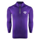 Under Armour Purple Tech 1/4 Zip Performance Shirt-Official Logo