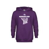 Youth Purple Fleece Hoodie-Mountain Lions Basketball w/ Hanging Net