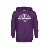 Youth Purple Fleece Hoodie-Young Harris Basketball Half Ball