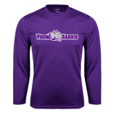 Performance Purple Longsleeve Shirt-Young Harris Flat w/ Spirit Mark