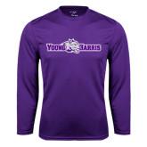 Syntrel Performance Purple Longsleeve Shirt-Young Harris Flat w/ Spirit Mark