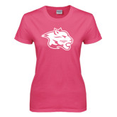 Ladies Fuchsia T Shirt-Spirit Mark