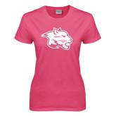 Ladies Fuchsia T Shirt-Spirit Mark