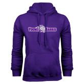 Purple Fleece Hoodie-Young Harris Flat w/ Spirit Mark
