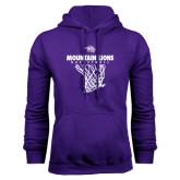 Purple Fleece Hoodie-Mountain Lions Basketball w/ Hanging Net