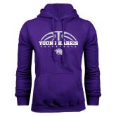 Purple Fleece Hoodie-Young Harris Basketball Half Ball
