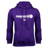 Purple Fleece Hoodie-Young Harris Baseball w/ Flying Ball