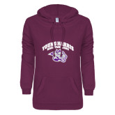 ENZA Ladies Berry V Notch Raw Edge Fleece Hoodie-Official Logo