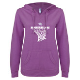 ENZA Ladies Berry V Notch Raw Edge Fleece Hoodie-Mountain Lions Basketball w/ Hanging Net