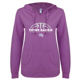ENZA Ladies Berry V Notch Raw Edge Fleece Hoodie-Young Harris Basketball Half Ball
