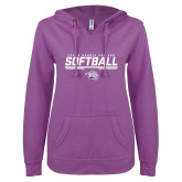 ENZA Ladies Berry V Notch Raw Edge Fleece Hoodie-Young Harris College Softball