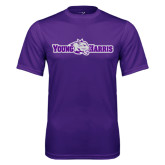 Performance Purple Tee-Young Harris Flat w/ Spirit Mark
