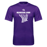 Performance Purple Tee-Mountain Lions Basketball w/ Hanging Net