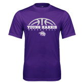 Performance Purple Tee-Young Harris Basketball Half Ball