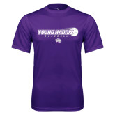 Performance Purple Tee-Young Harris Baseball w/ Flying Ball