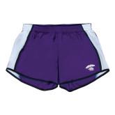 Ladies Purple/White Team Short-Official Logo