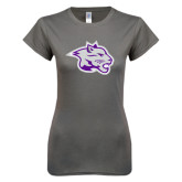 Ladies SoftStyle Junior Fitted Charcoal Tee-Spirit Mark