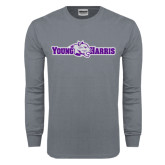 Charcoal Long Sleeve T Shirt-Young Harris Flat w/ Spirit Mark