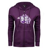 ENZA Ladies Purple Fleece Full Zip Hoodie-Spirit Mark