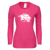 Ladies Fuchsia Long Sleeve T Shirt-Spirit Mark