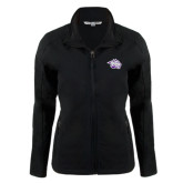 Ladies Black Softshell Jacket-Spirit Mark