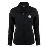 Ladies Black Softshell Jacket-Spirit Mark