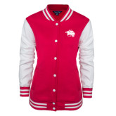 Ladies Pink Raspberry/White Fleece Letterman Jacket-Spirit Mark