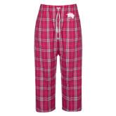 Ladies Dark Fuchsia/White Flannel Pajama Pant-Spirit Mark