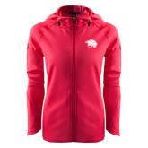 Ladies Tech Fleece Full Zip Hot Pink Hooded Jacket-Spirit Mark