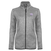 Grey Heather Ladies Fleece Jacket-Spirit Mark