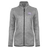 Grey Heather Ladies Fleece Jacket-Spirit Mark