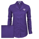 Ladies Red House Deep Purple Herringbone Long Sleeve Shirt-Official Logo