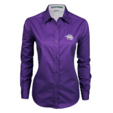 Ladies Purple Twill Button Down Long Sleeve-Spirit Mark