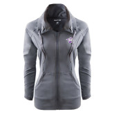 Ladies Sport Wick Stretch Full Zip Charcoal Jacket-Spirit Mark