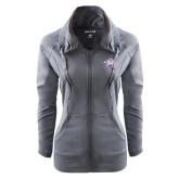 Ladies Sport Wick Stretch Full Zip Charcoal Jacket-Spirit Mark
