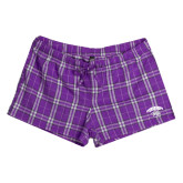 Ladies Purple/White Juniors Flannel Plaid Boxer-Official Logo