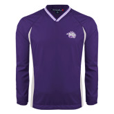 Colorblock V Neck Purple/White Raglan Windshirt-Spirit Mark