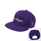 Purple Twill Flat Bill Snapback Hat-Young Harris Flat w/ Spirit Mark