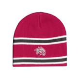 Pink/Charcoal/White Striped Knit Beanie-Spirit Mark